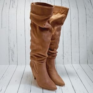 FOREVER 21 Tan slouchy heeled boots